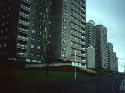 View of blocks on Shields Drive with Dalziel Tower in foreground