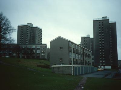 View of Dalziel Tower, Muirhouse Tower, and Barons Tower