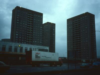View of 22-storey blocks from Paisley Road West