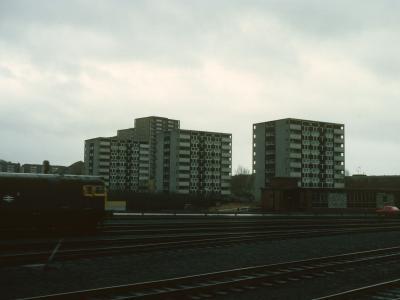 View of three 9-storey blocks on Carron Crescent