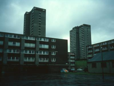 View of 18-storey blocks on Cranhill Estate