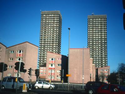 View of 51 Whitevale Street and 109 Bluvale Street from Gallowgate