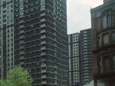 View of derelict Stirlingfauld Place blocks