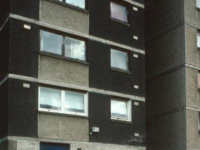View of 24-storey block in Laurieston
