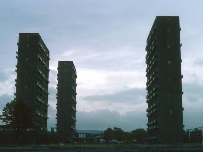 View of 23-storey blocks in Pollokshaws devlopment