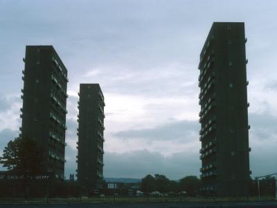 View of 23-storey blocks in Pollokshaws devlopment