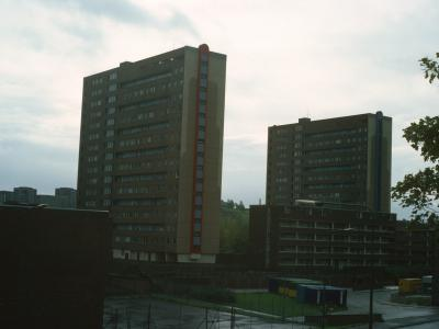 View of 16-storey blocks in Pollokshaws development