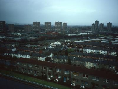 General view of Pollokshaws developments with Unit 2 - Shawbridge Street area - on left of image and Unit 1 - Birness Drive blocks - on right