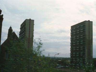 View of 23-storey blocks in Pollokshaws development