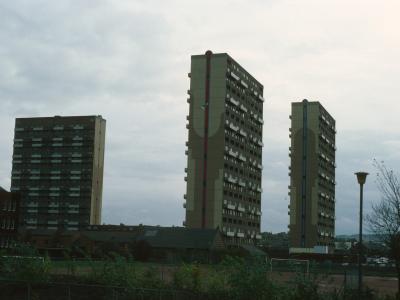 View of 23-storey blocks in Pollokshaw development