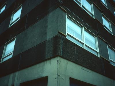 Detail view of multi-storey block on Balgrayhill Road