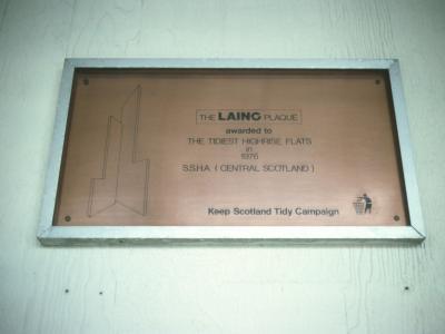 Plaque on 26-storey block