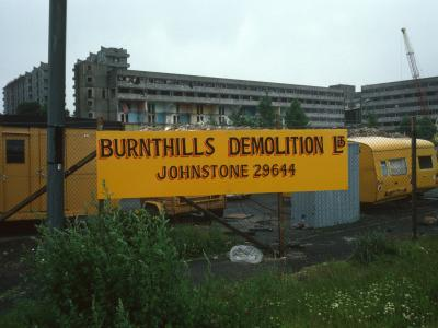 View of 7-storey blocks undergoing demolition