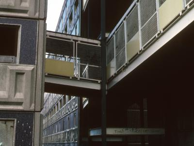 View of 200 Sandifield Road and condemned 7-storey blocks