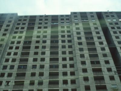 View of condemned 20-storey block in Sighthill