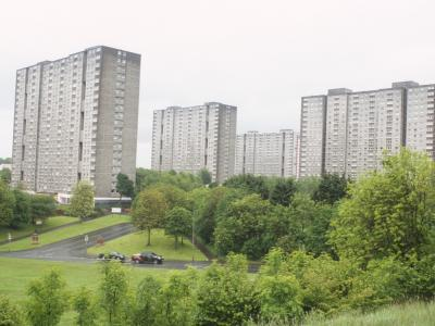View of 20-storey blocks in Sighthill