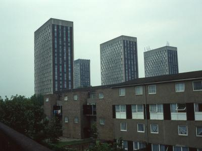 View of all four 23-storey blocks at Barbot Street redevelopment