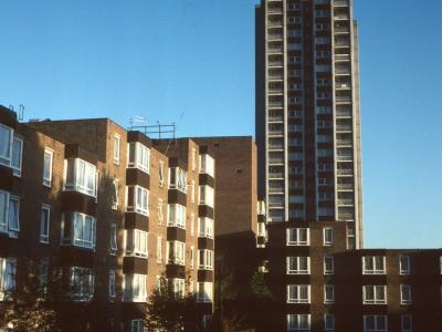 View of one 24-storey block with six-storey block in foreground