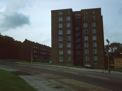 View of 8-storey block on Bostall Lane