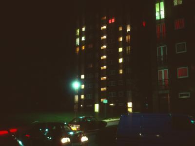 View of blocks at night