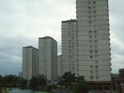 View of four 20-storey blocks on Clapton Park Estate