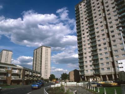 View of 20-storey blocks on Clapton Park Estate