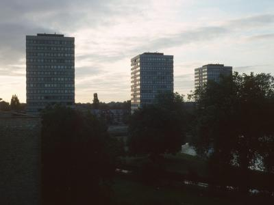 View of all three 16-storey blocks on Lincoln Court Estate