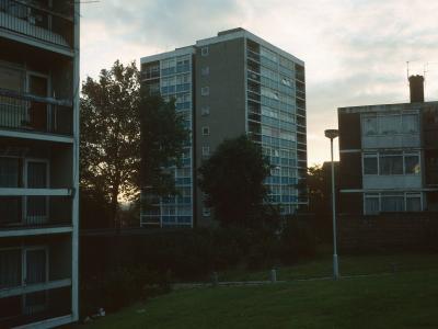 View of 10-storey blocks in Rowley Gardens