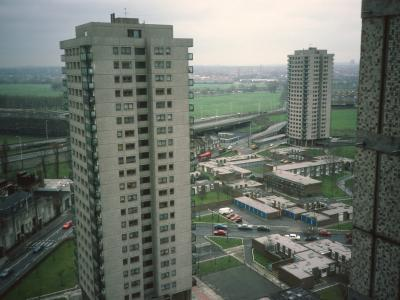View of 21-storey blocks on Trowbridge Estate with Hannington Point in centre