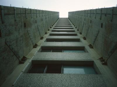Detail view of 21-storey block on Trowbridge Estate