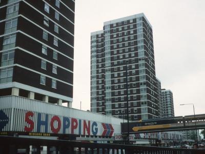 View of 20-storey blocks on Shepherd's Bush Green