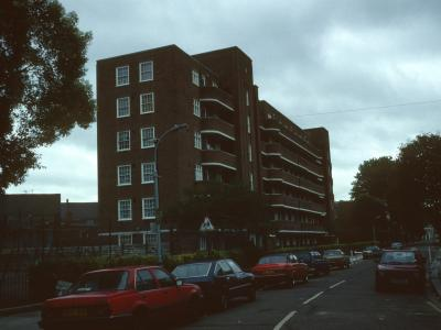 View of 232-273 Becklow Gardens from Becklow Road