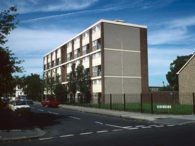 View of 1-24 Woodmead from corner of Grange Road and Northumberland Park