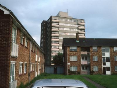 View of 11-storey block in East Finchley