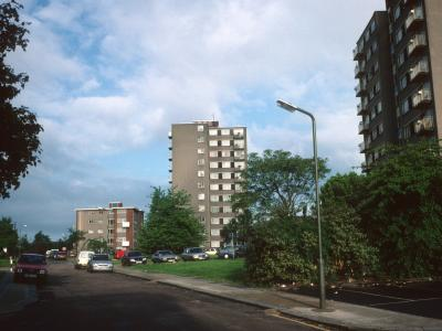 View of both Upper Fosters blocks from New Barnet Street