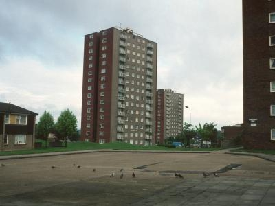 View of 15-storey blocks on Granville Road Estate