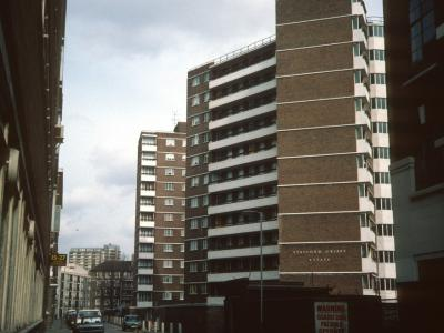 View of 12-storey blocks on Stafford Cripps Estate from Gee Street