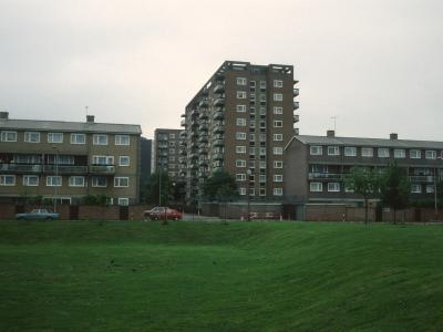 General view of Dovercourt Estate showing Ilford House with Threadgold House in background