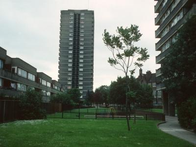 View of 22-storey block on Silchester Road development