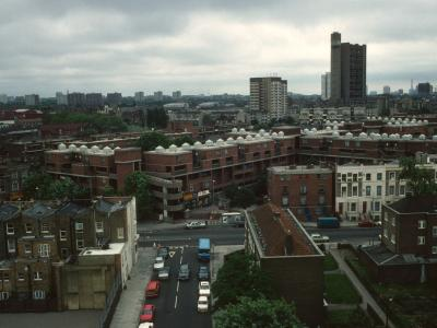 General view of Kensal New Town area with Trellick Tower, Hazelwood Tower, and Adair Tower