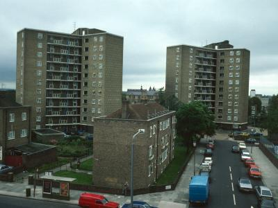 View of Raymede Gardens (on left) and Taverton Towers (right) from Ladbroke Grove