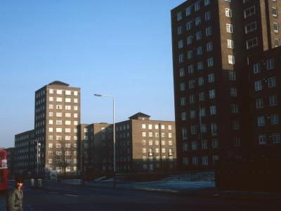 View of development looking North from Wandsworth Road with Walden Court on right and Tillotson Court on left