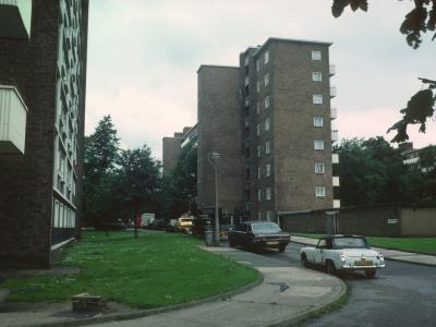 View of typical 8-storey block (Elstead House) in Roupell Park Estate