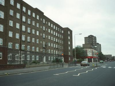 View of Temple Court, looking South down Wandsworth Road with Tillotson Court and Walden Court visible in background