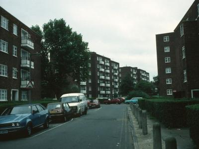 View of Norman House and Martin House looking South from Luscombe Way