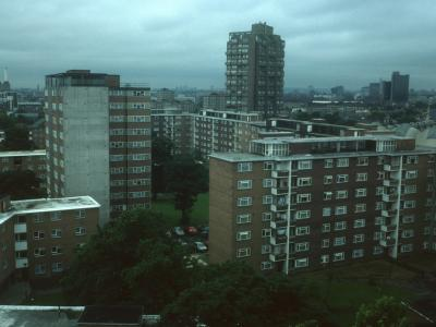 View over Studley Estate from Laker Court with Squires Court and Strudwick Court in centre