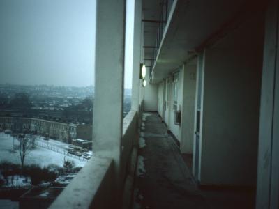 View along deck of 11-storey block