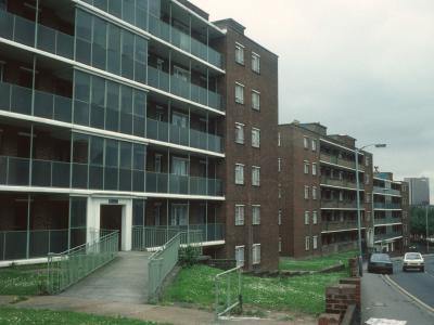 View of 6-storey block, looking North up Hither Green Lane
