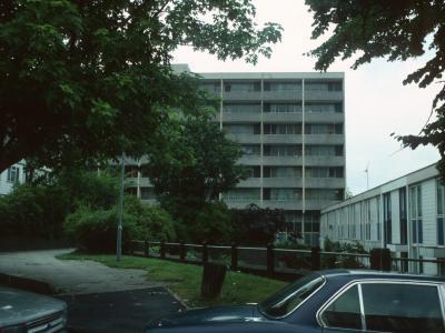 View of 8-storey block in Hazel Grove