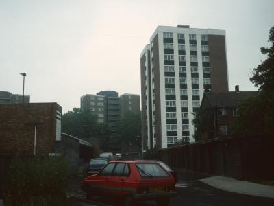 View of Merridale in foreground with 1-44 and 45-88 Leybridge Court in background